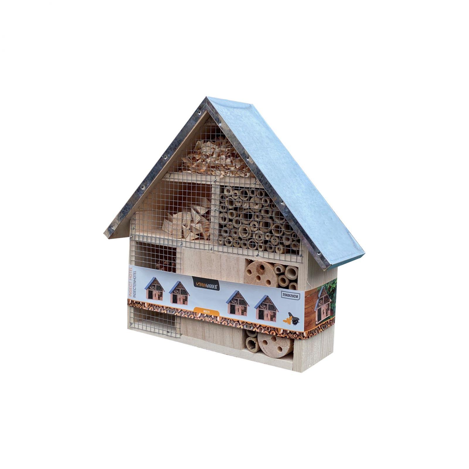Dřevěný domek pro hmyz s kovovou střechou, 28 cm